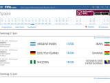 Bild: Auf der Seite der FIFA stehen der offizielle Spielplan und Infos über alle Mannschaften, eine davon ist der künftige Weltmeister.