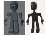 Bild: Der Subsurf-Modifikator rundet Kanten ab. Links: In Blender konstruiertes Männchen. Rechts: Bildausgabe nach dem Rendern.