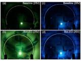 Bild: Die Bio-LED leuchten kräftiger als herkömmliche LEDs.