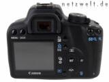 Bild: Das 2,5 Zoll große Display auf der Rückseite der Canon EOS 1000D kann das Sucherbild live anzeigen.