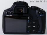 Bild: Rückansicht der Canon EOS 450D mit dem Drei-Zoll-Display