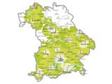 Bild: DVB-T Bedeckung in Bayern , Stand 27. November 2007: dunkelgrün = Dachantenne; mittelgrün = Außenantenne; hellgrün = Zimmerantenne