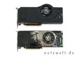 Bild: Gegenüber der GeForce 8800 GTX (unten) wurdenbei der Ultra-Variante Kühler und Takt geändert.