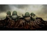 """Bild: """"Hold the Line"""": 3D-animierte Soldaten marschieren durch handgezeichnete Ruinen-Landschaft."""