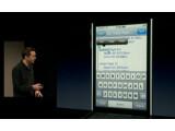 Bild: Scott Forstall, Vize-Präsident von Apple, demonstriert die Copy-Paste-Funktion der neuen iPhone-Software.