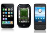 Bild: In guter Gesellschaft: Links das Apple iPhone, in der Mitte das Palm Pre, rechts das HTC G1.