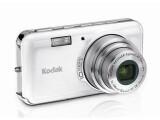 Bild: Bei kompakten Digitalkameras wie der Kodak EasyShare V1003 ist der Blitz oft im Gehäuse integriert, recht klein und neben dem Objektiv positioniert.