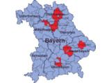 Bild: In die Studie einbezogene Gebiete in Bayern.