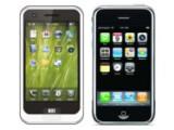 Bild: Meizu installiert auf dem M8 (links) das eigene Betriebssystem Mmobile, trotzdem ist die Ähnlichkeit zum iPhone von Apple (rechts) nicht von der Hand zu weisen.