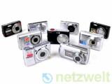 Bild: Von links oben nach rechts unten: Rollei RCP-8527X, Casio Exilim EX-Z150, Sony Cybershot W110, Fujifilm Finepix J150W, Pentax Optio E60, Agfaphoto sensor 530s, Samsung S1070, Panasonic Lumix DMC LS80, Canon Powershot A470.