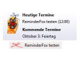 Bild: Der ReminderFox liegt als Schleife in der Ecke und zeigt Termine an.