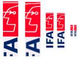 Bild: Jeweils links ist die Vektorgrafik zu sehen, rechts das gleiche Bild als Rastergrafik im JPEG-Format. Deutlich ist zu erkennen, wie bei zunehmender Vergrößerung die Qualität des rechten Logos abnimmt.