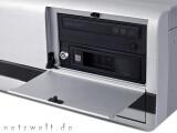 Bild: ....die etwas klapprigen Frontblenden, hinter denen sich der Lightscribe-Brenner, ein Festplatten-Wechselrahmen sowie....