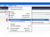 """Bild: Im Browserfenster finden Sie im Menü """"Extras"""" das Untermenü """"Opera Unity Server"""". Dort müssen Sie auf den Menüeintrag """"Opera Unite aktivieren"""" klicken."""
