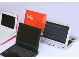 Bild: Das Netbook rechts außen verfügt über eine Solarpanel auf dem Gehäusedeckel.