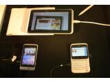 Bild: Drei von insgesamt sechs HTC-Neuheiten auf dem Mobile World Congress: Der Tablet-Computer HTC Flyer und die beiden Facebook-Handys Salsa und ChaCha. (Bild: netzwelt)