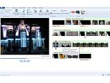 Bild: Die Arbeitsoberfläche von Windows Live Movie Maker. Links das Vorschaufenster. Das Video wird als Filmstreifen angezeigt. Der grüne Streifen steht für die Audiospur, der hellbraune für Titel und Texteinblendungen.