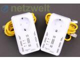 Bild: Wie üblich bei den Herstellern von Stromnetzwerk-Geräten, kommt auch das Modell All168555SDOUBLE von Allnet mit zwei Ethernet-Kabeln. (Bild: netzwelt)