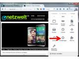 """Bild: Die Rechtschreibprüfung aktivieren Sie zunächst in den Einstellungen des Firefox Webbrowsers. Klicken Sie dazu rechts neben der Adresszeile auf die drei Striche und wählen Sie im Menü """"Einstellungen"""" aus. (Bild: Screenshot/Mozilla Firefox)"""