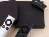 Bild: Drei Media Player zur Auswahl: Apple TV, Google Chromecast und Amazon Fire TV.
