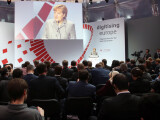"""Bild: Die Kanzlerin sprach auf der """"Digitising Europe""""-Konferenz von Vodafone über ihre Pläne zur Netzneutralität."""