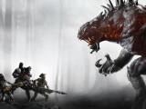 Bild: Das Spielprinzip von Evolve als Standbild: Vier Jäger gegen ein garstiges Monster.