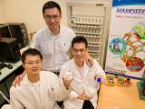 Bild: Professor Chen Xiaodong (hinten) von der TU Nanyang mit zwei Studenten aus dem Forschungsprojekt.