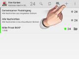Bild: Tippen Sie oben rechts auf das Pluszeichen, wenn Sie ein neues E-Mail-Konto anlegen möchten. Das ist nur notwendig, wenn Sie die App bereits nutzen und Konten angelegt haben. Starten Sie K-9 Mail das erste Mal, gelangen Sie automatisch zur Einrichtung eines neuen E-Mail-Kontos. (Bild: Screenshot/K-9 Mail)