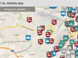 Bild: Mobility Map zeigt nicht nur freie Carsharing-Fahrzeuge verschiedener Dienstleister an, sondern kalkuliert auch verschiedene Verkehrsmittel.