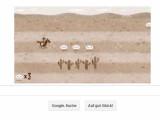Bild: Mit Steuertasten Briefe einsammeln und Hindernissen ausweichen: der Pony Express als Google Doodle.