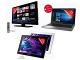 Bild: Das Smart-TV (Medion Life P12267 MD 21366) und das Notebook (Medion Akoya S2218 MD 99630) von Medion sind ab dem 24. September bei Aldi Nord im Angebot. Außerdem gibt es einen Tablet-PC von Medion.