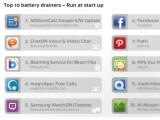 Bild: Die Top-Ten der Apps mit dem höchsten Akkuverbrauch nach AVG-Studie.
