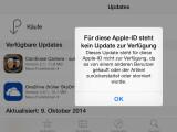 Bild: Einige Nutzer sehen beim Versuch, ein Update über den App Store zu installieren, bei einigen Anwendungen diese Fehlermeldung.