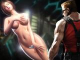Bild: Ein typisches Bild, der Held aus dem Ego-Shooter Duke Nukem mit einer leichtbekleideten, großbusigen Dame.