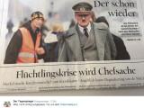 Bild: Unglücklichs Titelblatt des Tagesspiegel: Hitler als Herr der Flüchtlingskrise.