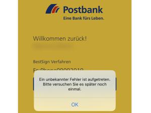 Postbank Störung Auszahlung