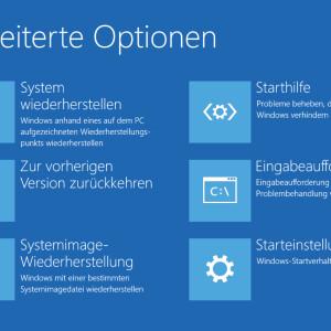 Windows 10 Erweiterte Startoptionen