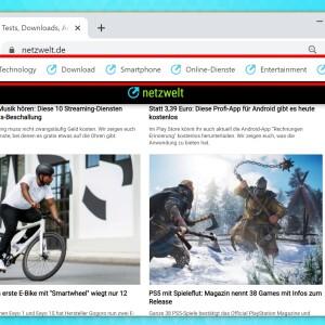 Google Chrome Leiste Weg