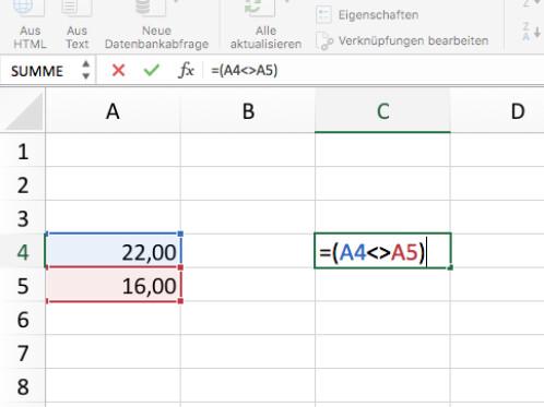 Microsoft Excel: So arbeitet ihr mit Ungleich-Funktionen