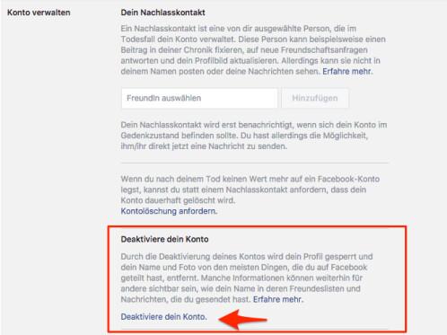 facebook konto schließen