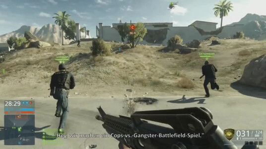 Visceral Games und Dice lassen sich bei der Arbeit zu Battlefield Hardline über die Schulter schauen und sprechen im vierten Entwicklertagebuch über die zwei vergangenen Beta-Phasen. Nebenbei bekommt ihr auch noch einige Gameplay-Eindrücke zu Gesicht. Der Ego-Shooter wurde bereits ausgiebig von Spielern getestet erhielt durchaus positives feedback. Erstmals geht ihr in einem Spiel der Battlefield-Serie auf Gangster- und nicht Terroristen-Jagd. Im Online-Modus stehen sich also diesmal Cops und Gangster gegenüber und liefern sich mit bis zu 64 Leuten Schusswechsel. Publisher Electronic Arts veröffentlicht Battlefield Hardline am 17. März 2015 für PC, PlayStation 4, Xbox One, PlayStation 3 und Xbox 360.