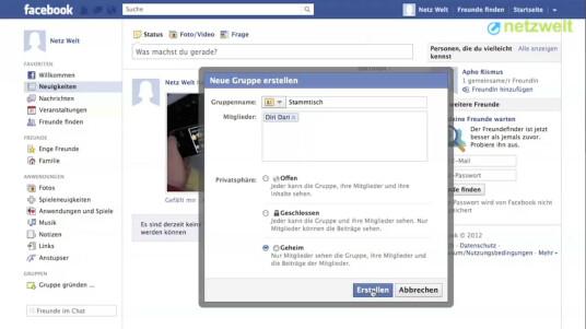 Wenn beispielsweise mit mehreren Leuten eine Veranstaltung geplant werden muss, kann es praktisch sein, die Kommunikation über eine Facebook-Gruppe zu erledigen. Wie Sie eine Gruppe erstellen, zeigt das Video.