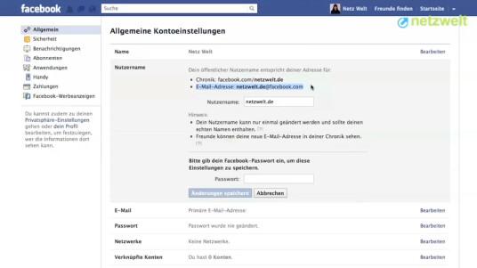 So geht's: Facebook - E-Mail einrichten