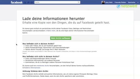 Wenn Sie Ihre Fotos und weiteren Beiträge in Facebook sichern wollen oder planen das Soziale Netzwerk zu verlassen, bietet es sich an eine Kopie Ihrer Daten zu erstellen. Im Video wird erklärt, wie der Download gelingt.