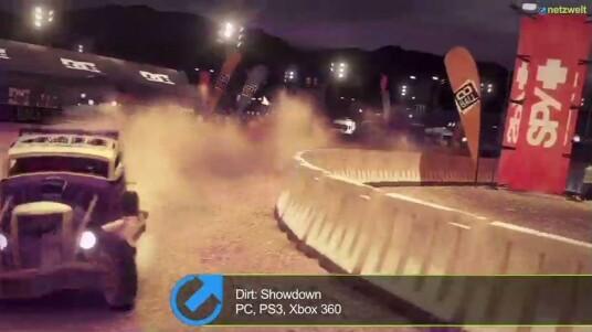 Der chaotische Arcade-Racer mit Demolition-Derby-Qualitäten, Dirt: Showdown, bietet kurzweiligen Spielspaß und jede Menge Blechschaden. In diesem Test-Video schauen wir uns die verschiedenen Spiel-Modi und Renn-Strecken an. Vom Stock-Car-Runden-Rennen bis zum Aufeinander-Treffen in einer Demolition Derby-Arena ist in Dirt: Showdown alles dabei. Erschienen ist das Rennspiel für die Xbox 360, die PlayStation 3 und den PC.