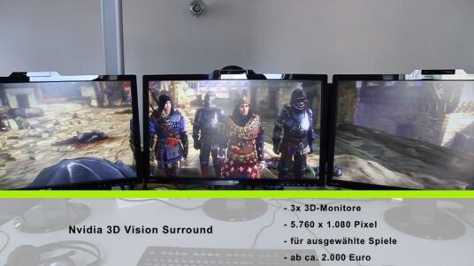 Zwei leistungsstarke Grafikkarten und drei Monitore ergeben zusammen eine breite Leinwand für Computerspiele.