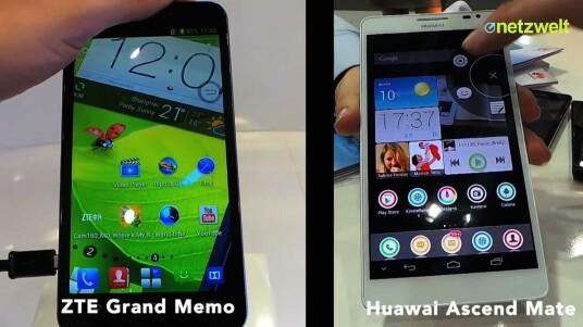 Netzwelt hat auf der CeBIT in Hannover die beiden aktuell größten Smartphones ZTE Grand Memo und Huawei Ascend Mate miteinander verglichen.