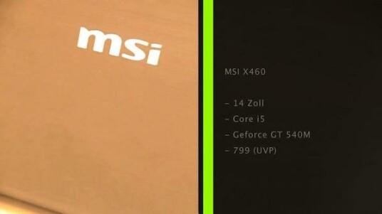 Dank Intels Wireless-Display-Technologie überträgt der MSI X460 seinen Bildschirminhalt drahtlos auf Fernseher - den passenden Empfänger voraussgesetzt.