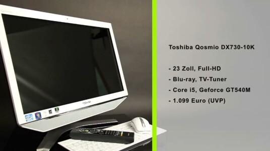 TV-Tuner, Blu-ray-Laufwerk und ein 23 Zoll großer Bildschirm mit Full-HD-Auflösung: Der Toshiba Qosmio DX730-10K bietet sich als Multimedia-Zentrale an.