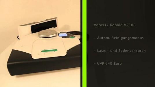 Der Kobold VR100 ist der Roboter-Staubsauger von Vorwerk. Das Modell navigiert mit Laser- und Bodensensoren und sorgt mit Auto-Modus und Timer ausgerüstet für die Reinigung des Bodens auch wenn der Nutzer nicht vor Ort ist. Besondere Stärken zeigte der Roboter beim Umfahren von Gegenständen und Ausfahren der Kanten eines Raumes.